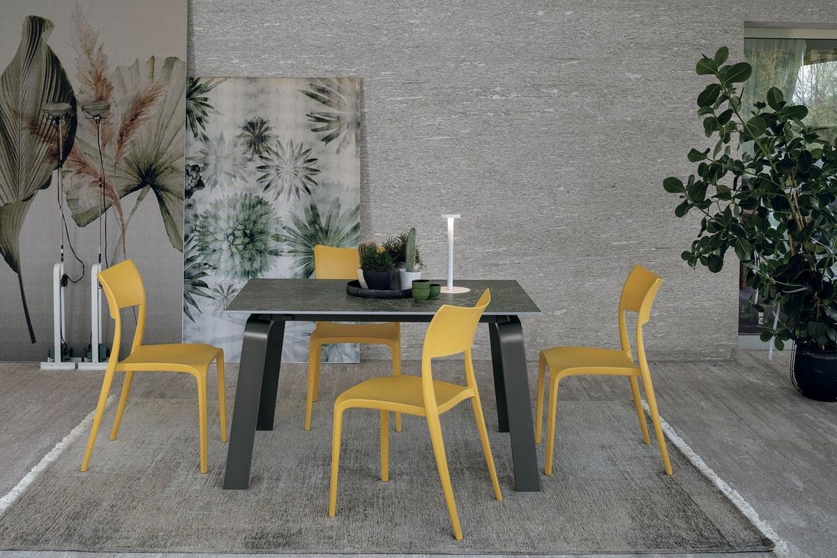 DEIMOS 130 TA191, Extendible table, aluminum frame, porcelain stoneware top