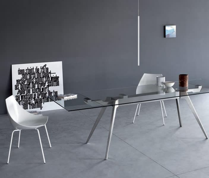 Delta, Dining table with top made of marble, wood or glass