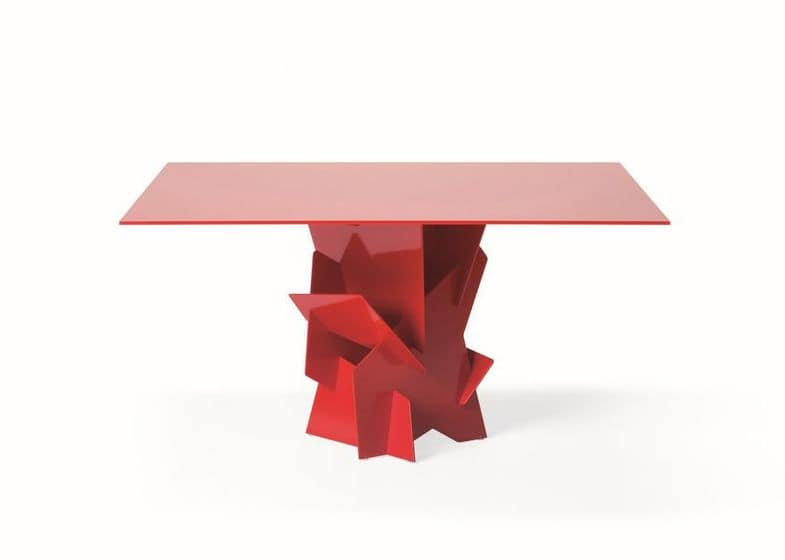 Diamante, Table with aluminium base constructed without welds for a sleek look, glass top