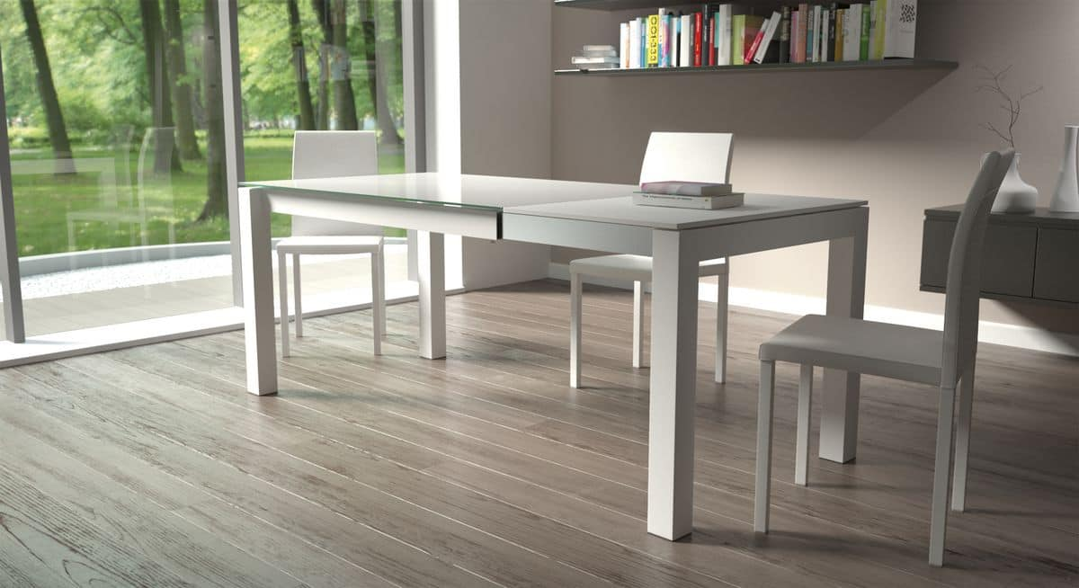 Doris, Rectangular table with glass top, for modern kitchens