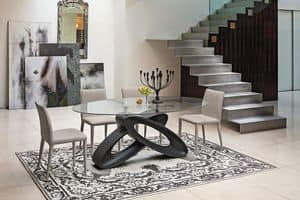 ECLIPSE TP400, Table with tempered glass top for dining rooms