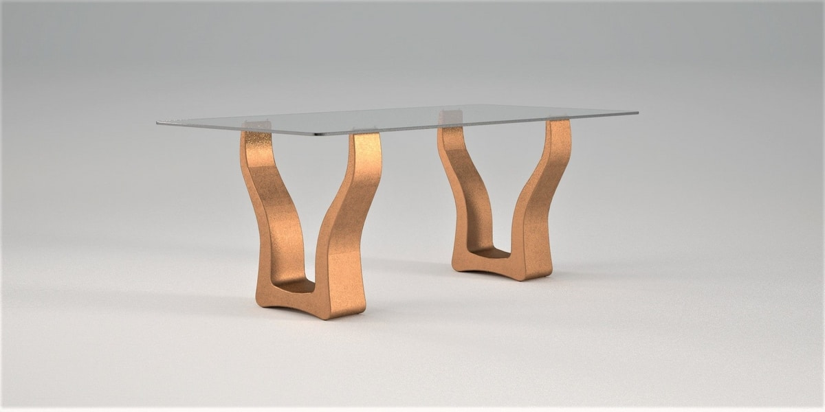 Evan, Dining table, stone and glass
