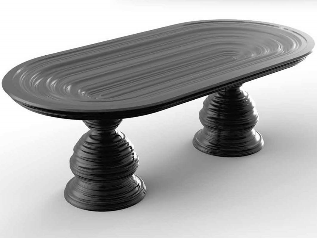 Frames Art. T01, Table with oval crystal top