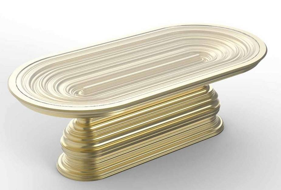 Frames Art. T07, Oval table with gold decorative base