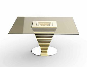 Frames Art. T13, Elegant table with bronzed crystal top