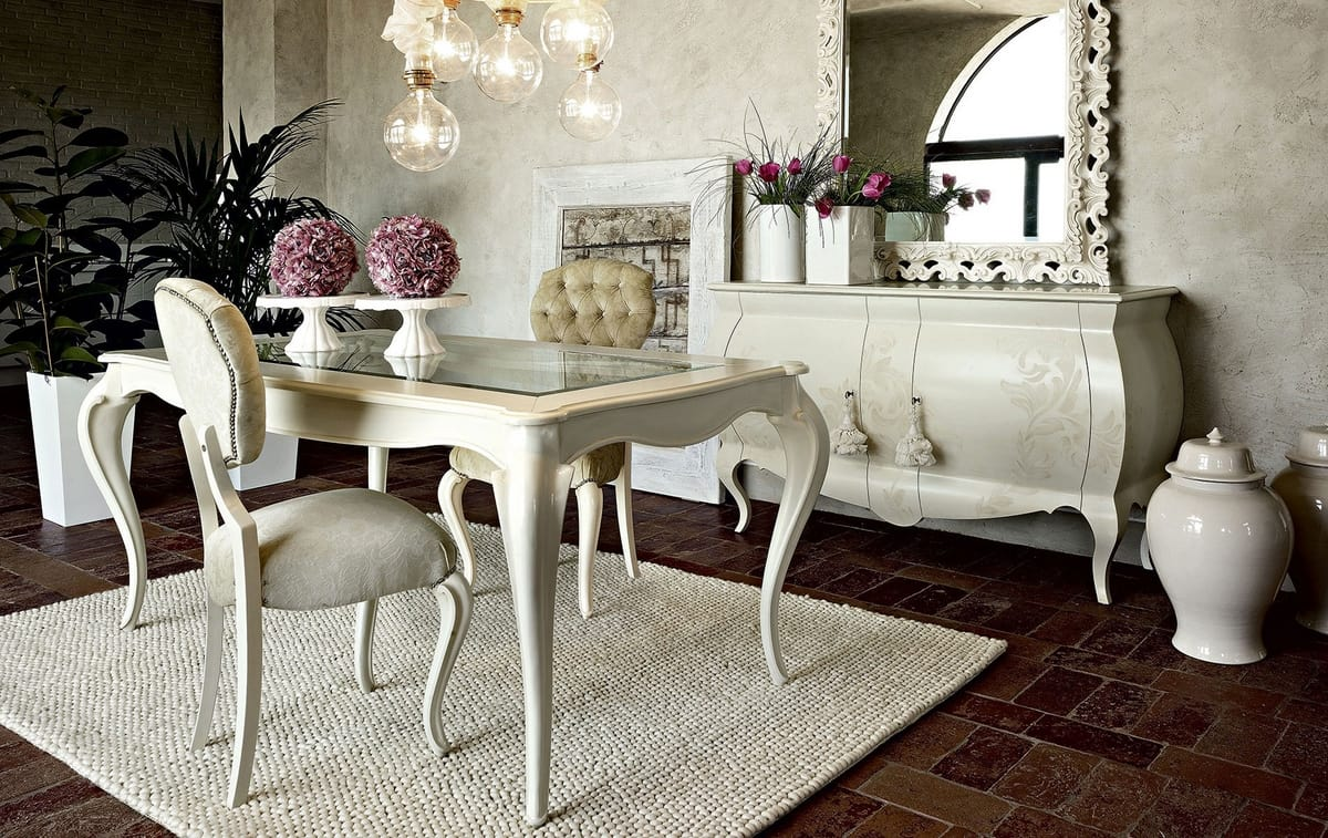 Giulietta table, Dining table in white wood, with glass top