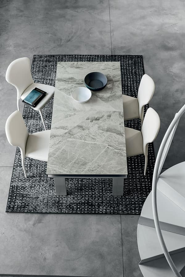 HERCULES TA125, Extendable rectangular table, contemporary style
