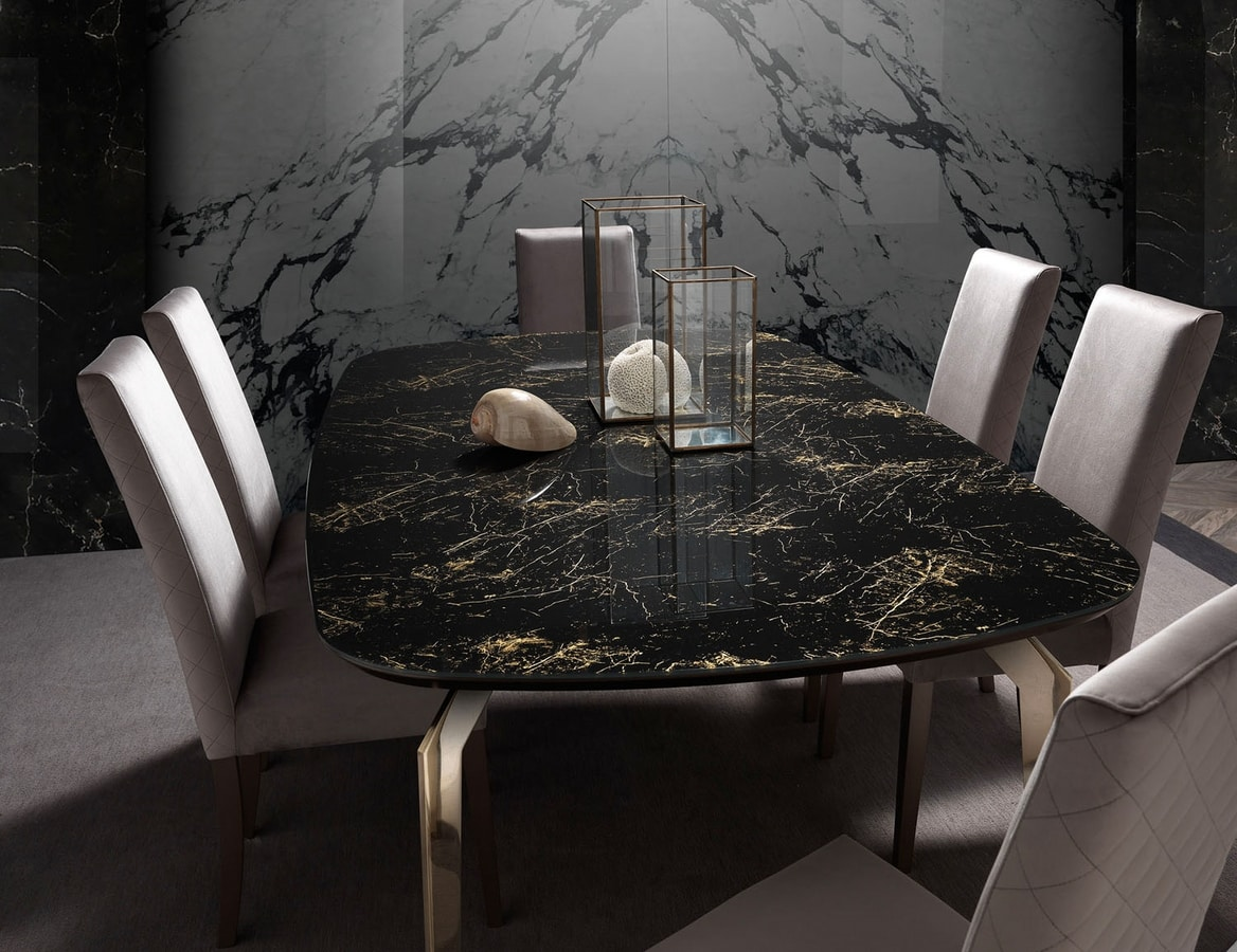 Incanto table, Dining table with marble effect top