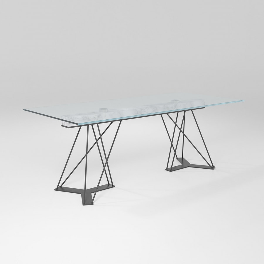 Leon, Iron table with glass top