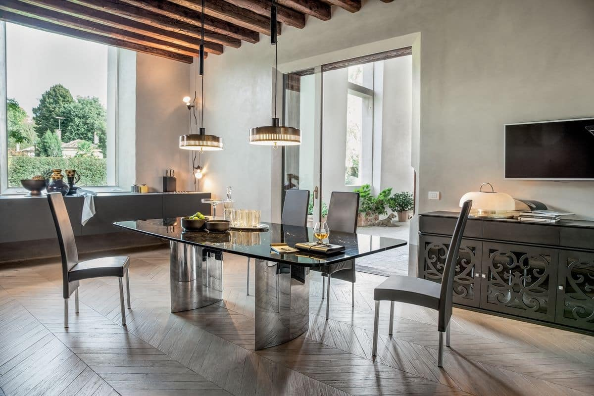 MANHATTAN, Extendable or fixed table, with glass, wood, marble or ceramic top