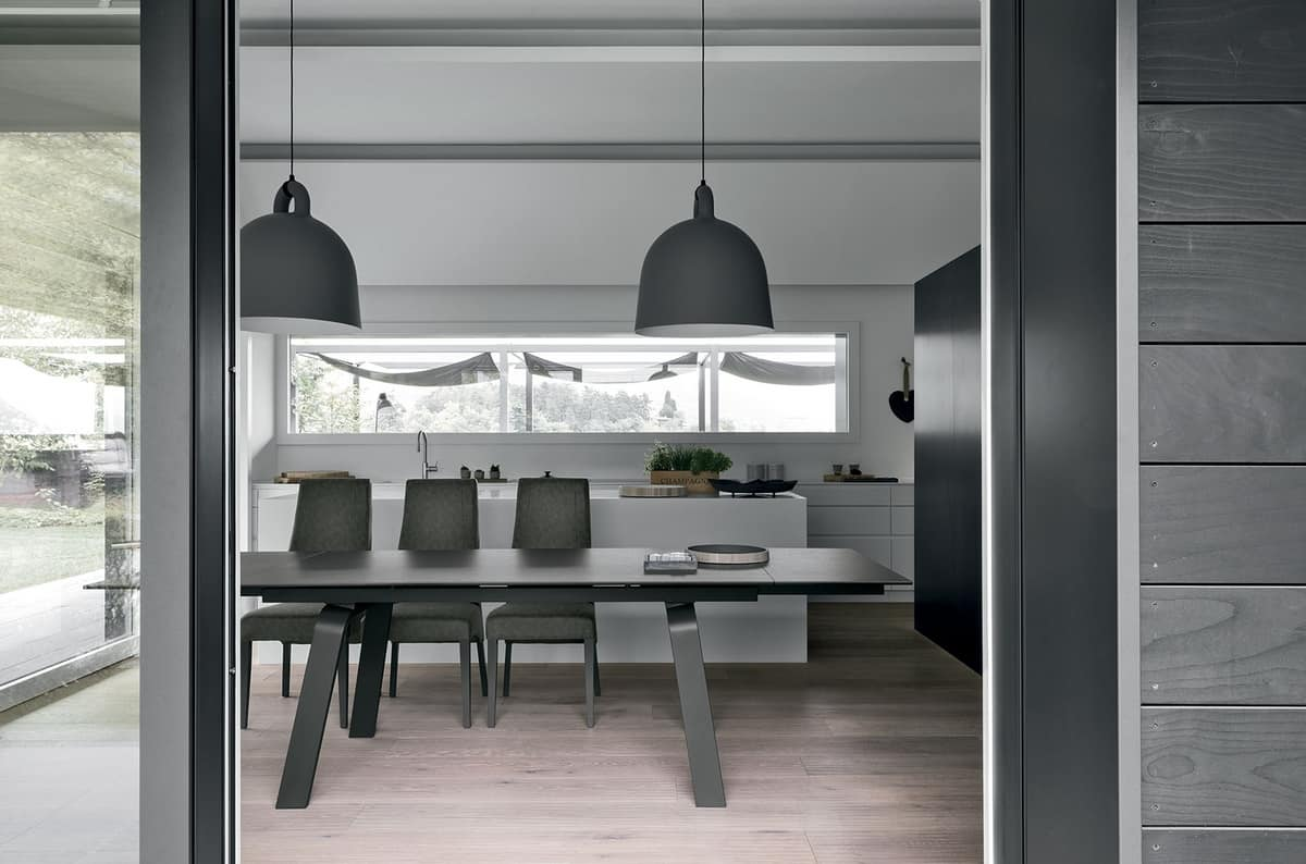 MARTE 180 TA147, Extendable dining table with glass top