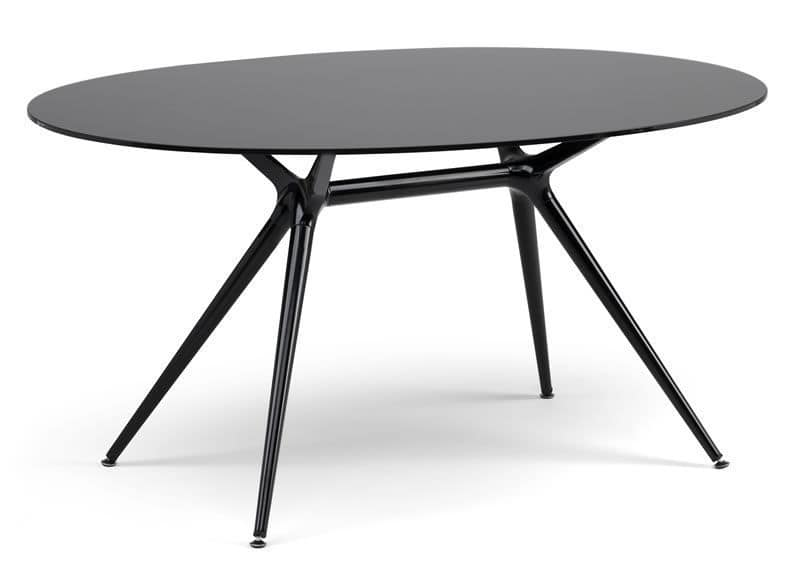 Metropolis 112x150cm, Metal table with oval glass top, several finishings