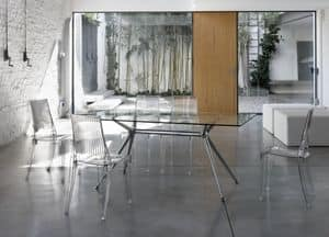 Metropolis 180x90cm, Desing table with metal structure and glass top