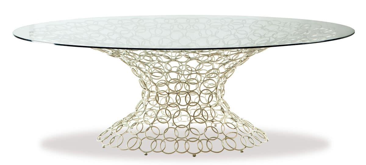 Mondrian, Oval table, metal base, glass top