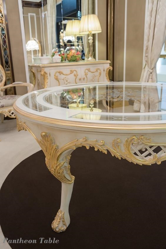 Pantheon table, Round table with glass top