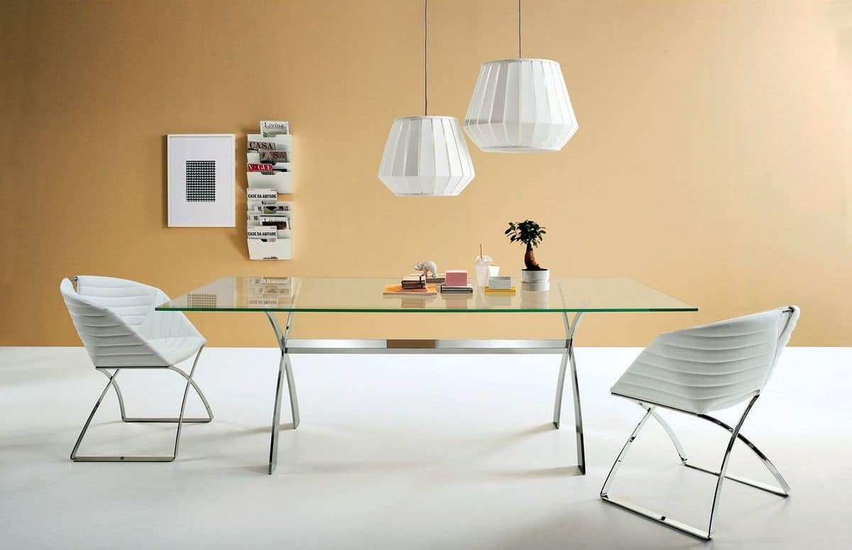 Piano Tavolo Vetro Ikea.Fixed Table Made Of Metal And Glass Different Sizes Idfdesign