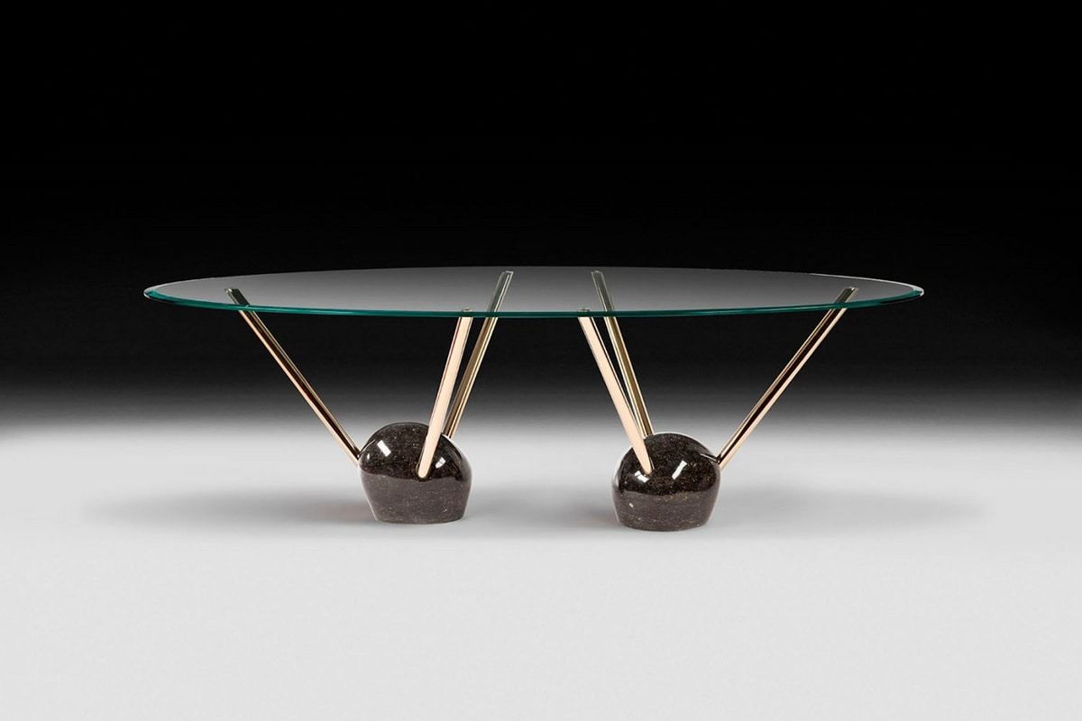 Rays, Table with oval beveled top