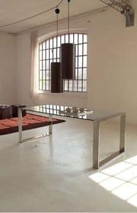 Ring table, Metal dining table, glass top