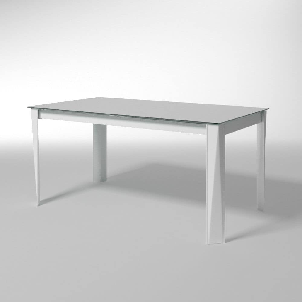 Romeo, Extensible table, glass top, for dining room