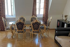 Royal, Baroque dining table, with glass top