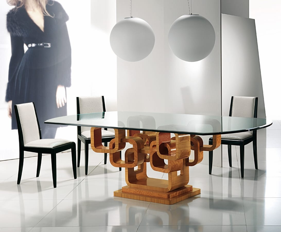 TA34K Glamour table, Elegant table with glass top