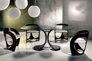 TA43 Mistral table, Dining table with glass top, chrome metal base