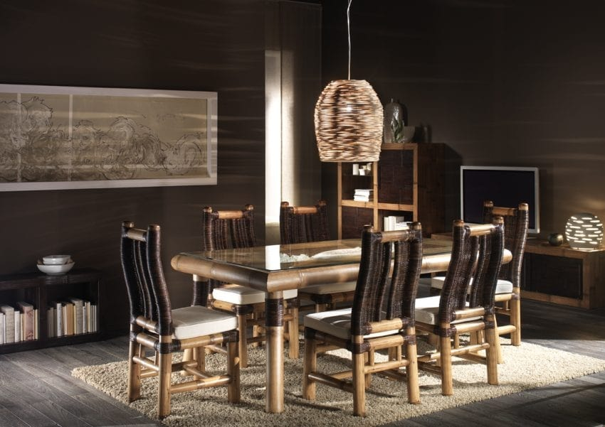 Table Surya, Ethnic dining table with glass top