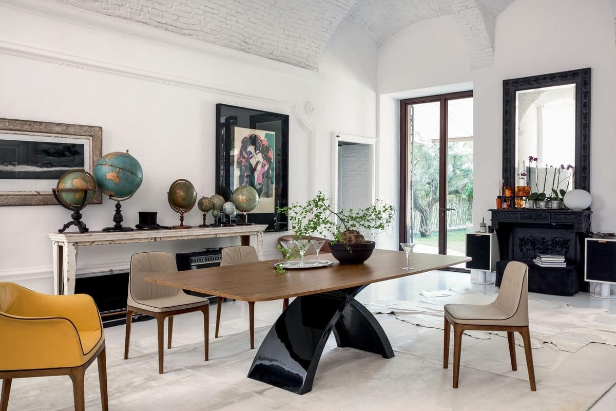 TOKYO, Extendable or fixed table, with glass, wood, marble or ceramic top