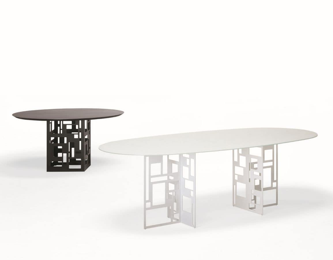 Velasca Oval, Oval table, with glass top, suitable for dining room