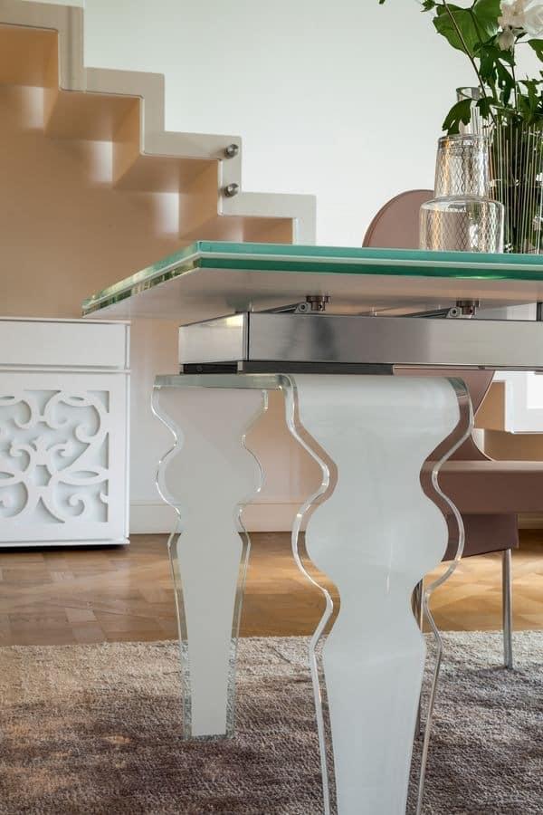 VENDÔME, Extending table, in shaped glass, for residential use