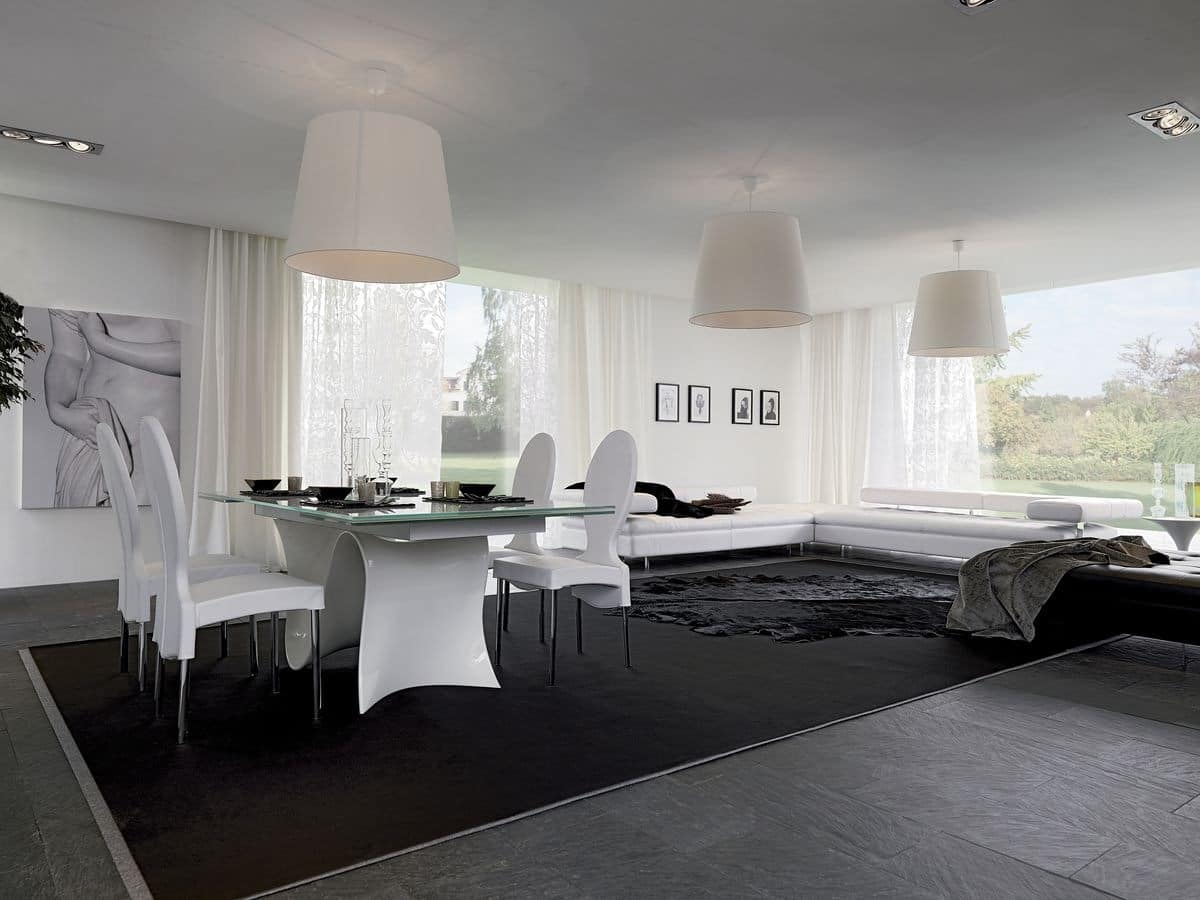 WAVE, Extendable or fixed table, with glass, wood, marble or ceramic top