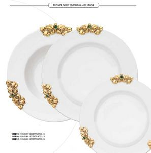 FUSIONE dishes, Porcelain plates, with gold decorations