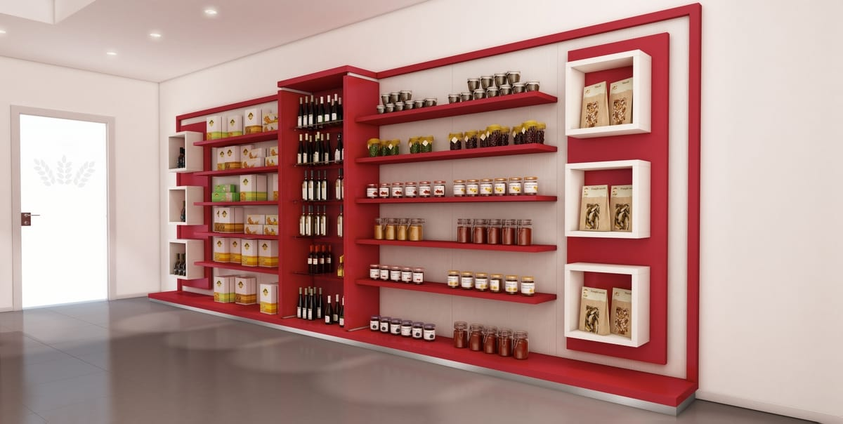 Revolution - shelving unit for bakeries, Equipped wall for bakery and food shops