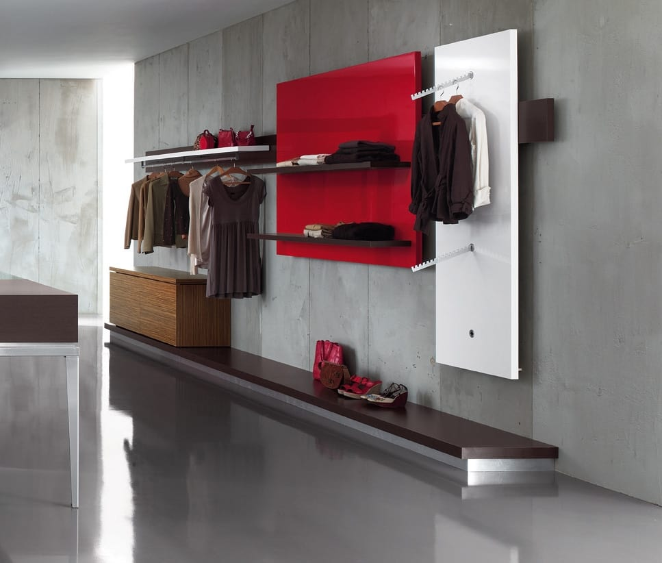 Revolution - wall unit for clothes store 2, Wall shelving for clothing stores