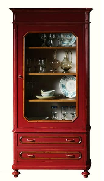 Adeline BR.0055, Lacquered glass cabinet with 1 door, classic style