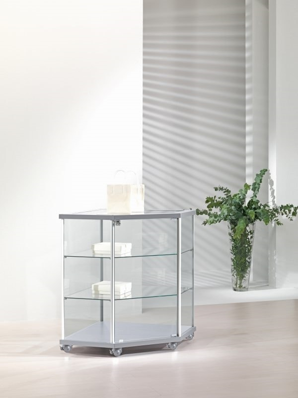 ALLdesign 70/B, Corner display cabinet, on castors