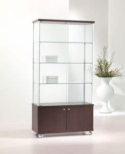 ALLdesign 93/M, Modern showcase, glass shelves, 2-door base cabinet with wheels, for shops