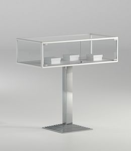 ALLdesign plus 1/PFP, Horizontal glass showcase with column base