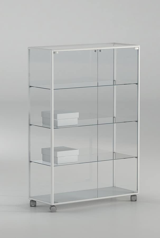 ALLdesign plus 91/14P, Display cabinet on castors, made of glass with aluminum profiles