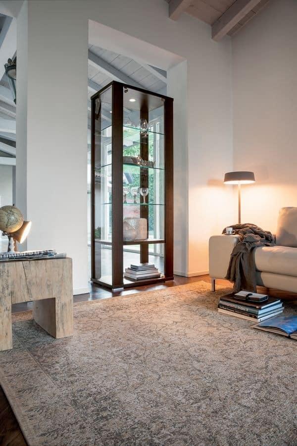 AURORA, Showcase with glass shelves for living room
