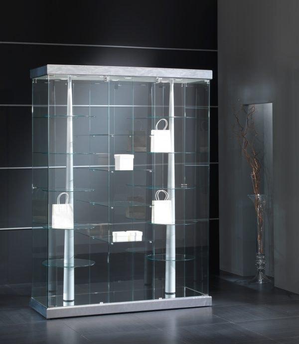 Black&White 14/G, Showcase with eco-leather base, with rotating shelves