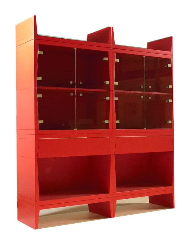 Bright, Red modern showcases suited for dining room