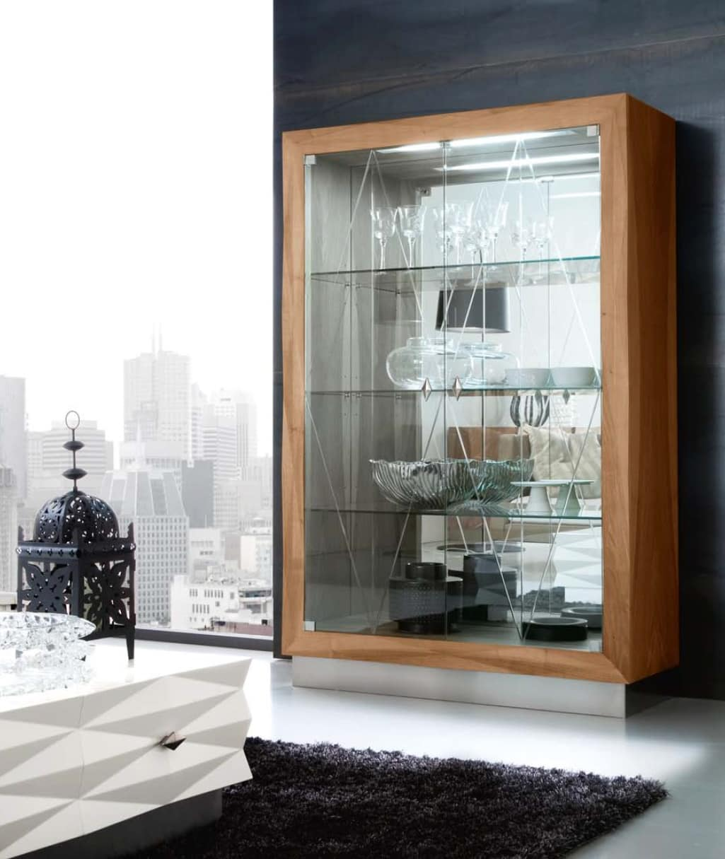 Diamante Art. 38.142, Contemporary Display Cabinet Of Glass And Mirror, In  Walnut And