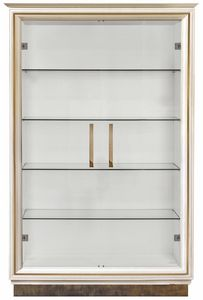 Diamante display cabinet with metal base, Elegant  display cabinet with glass shelves