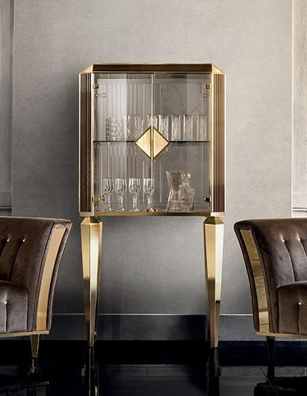 DIAMANTE small cabinet with glass doors, Living room cabinet with glass doors