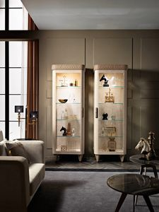 Diamond display cabinet with 1 door, Showcase with 1 door, with LED spotlights