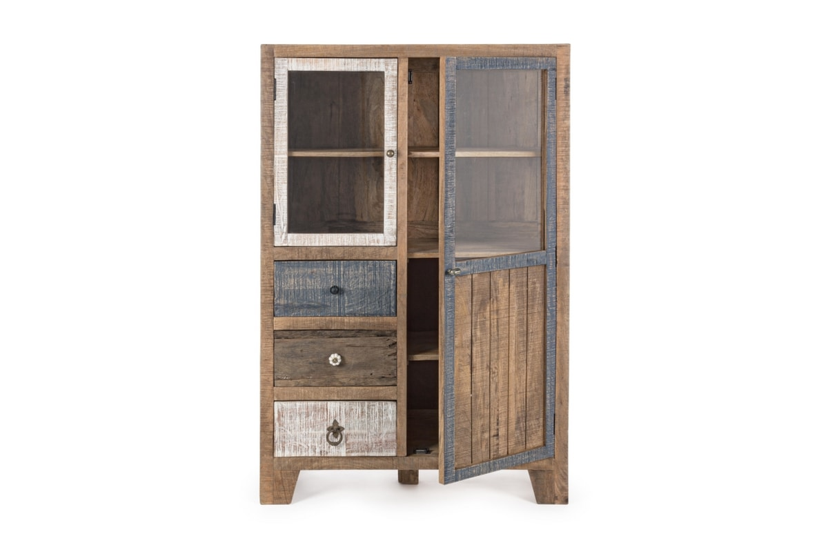 Display cabinet 2A-3C Modez, Display cabinet with natural rustic finish