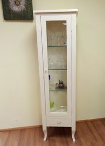 Display cabinet, Showcase in lacquered wood, with glass shelves