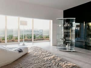 GRAC�A, Exhibiting furniture in curved glass, for modern living room