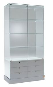 Laminato 100/CS, Glass showcase, with drawers